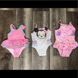 Swim - Baby Girl Swimwear Lot 9-12 Months ( 3 swimsuits)